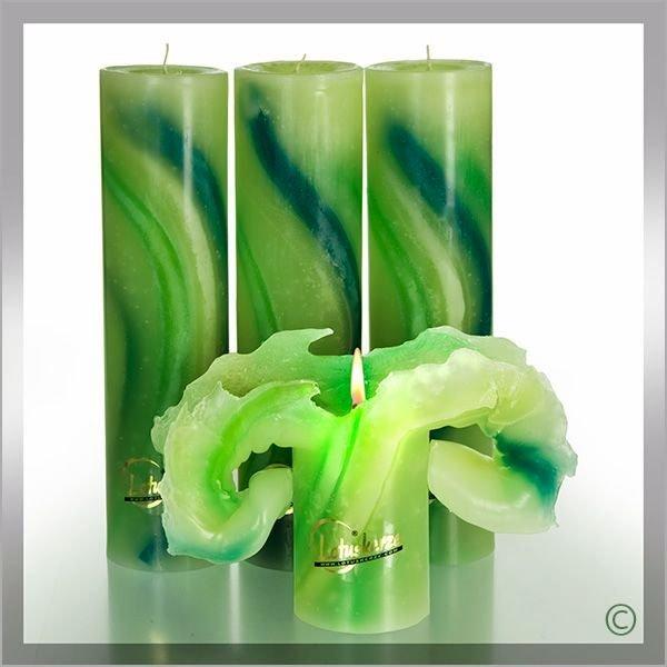 Esoterik-shop-nature-for-you.de-Lotuskerze Aquarell 28 cm grün 3er Set